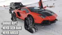 Lamborghini Aventador замени гумите си с вериги (видео)